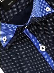 Сорочка синя в білий дрібний горошок